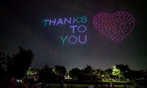 A drone display in Seoul showing messages of support for the country amid the Covid-19 pandemic.