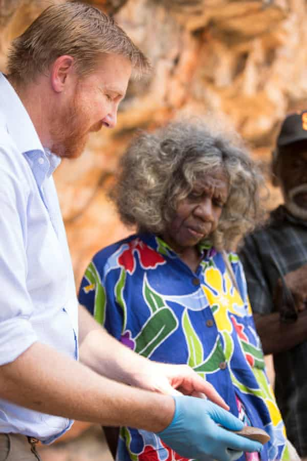 Clarkson and traditional owner Nango at the dig.