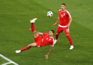 Aleksandar Mitrovic of Serbia attempts an overhead kick.