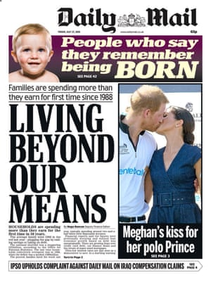 Daily Mail front page 27 July 2018