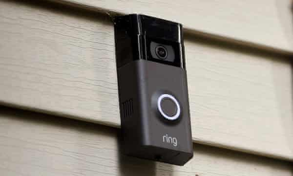 A Ring doorbell camera mounted on a featherboarded home