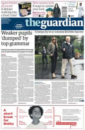 Guardian front page, 30 August 2017