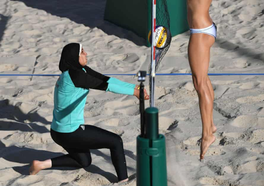 Uniform rules were changed ahead of the London 2012 Olympics to open women's beach volleyball up culturally. Some competitors – including a number of Egypt's women's team, pictured here – match tops and leggings with the hijab.