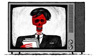 Illustration by David Foldvari of a dead newsreader wearing a toupee.