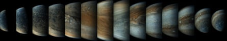 Once every 53 days the Juno spacecraft swings close to Jupiter, speeding over its clouds. In just two hours, the spacecraft travels from a perch over Jupiter's north pole through its closest approach (perijove), then passes over the south pole on its way back out.