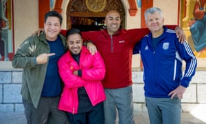 Dom Joly, Mim Shaikh, Amar Latif and Adrian Chiles in Pilgrimage: The Road to Istanbul.