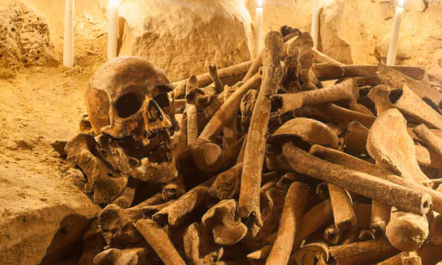 Human bones beneath the Montparnasse cemetery.