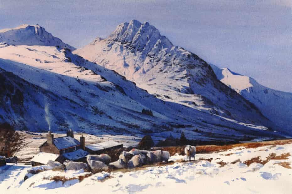 Snowy Snowdonia … Rob Piercy's painting of Tryfan seen from Tal y Braich