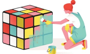 Illustration of woman painting over a Rubik's Cube