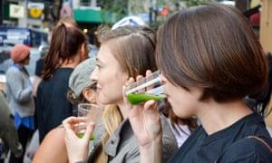 Juice crawlers knock back green shots in New York.