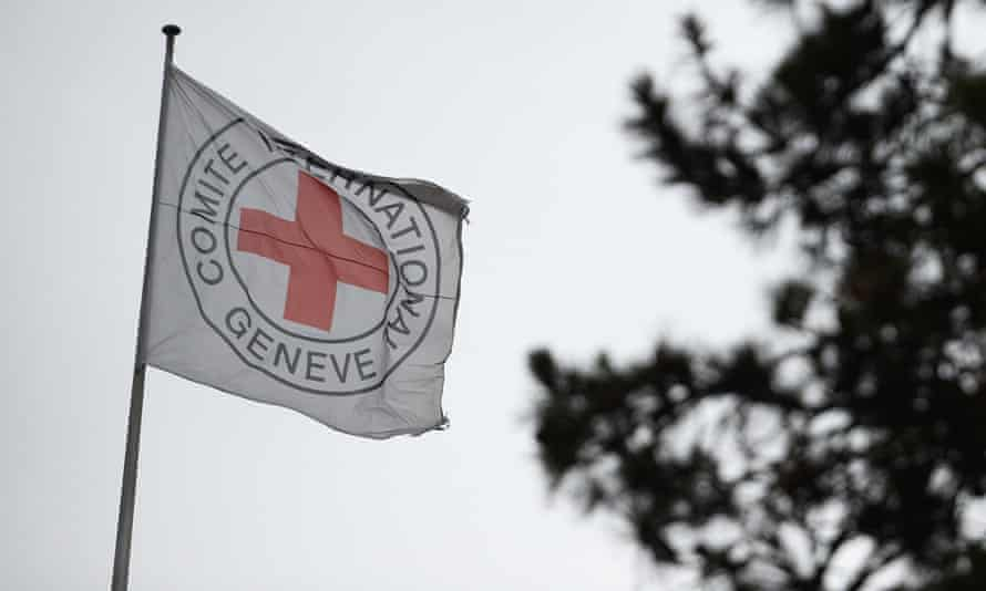 A flag on top of the International Committee of the Red Cross headquarters in Geneva.