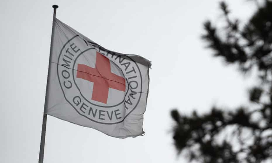 The flag of the International Committee of the Red Cross (ICRC) at its headquarters in Geneva