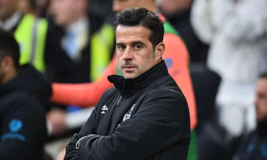 A head and shoulders picture of Marco Silva looking left before Everton played Brighton in 2019.