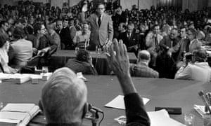John Dean is sworn in by Senate Watergate committee in a photo from June 1973.