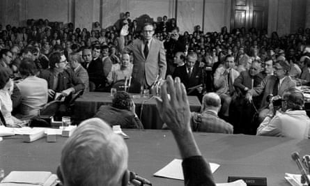 John Dean is sworn in to testify at the congressional Watergate hearings in 1973. He spoke of 'a cancer growing on the presidency'.