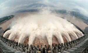 Water is discharged from the Three Gorges dam to lower the level in its reservoir in Yichang after torrential rain in 2010.