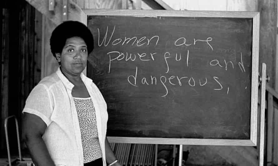 Poet and activist Audre Lorde lectures students at the Atlantic Center for the Arts in Florida, 1983.