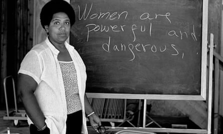 Audre Lorde lectures students at the Atlantic Center for the Arts in Florida in 1983.