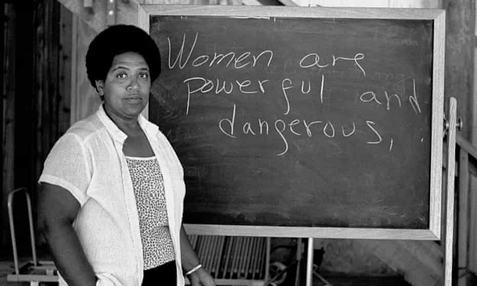 In black and white … Audre Lorde lectures at the Atlantic Center for the Arts in New Smyrna Beach, Florida, 1983.