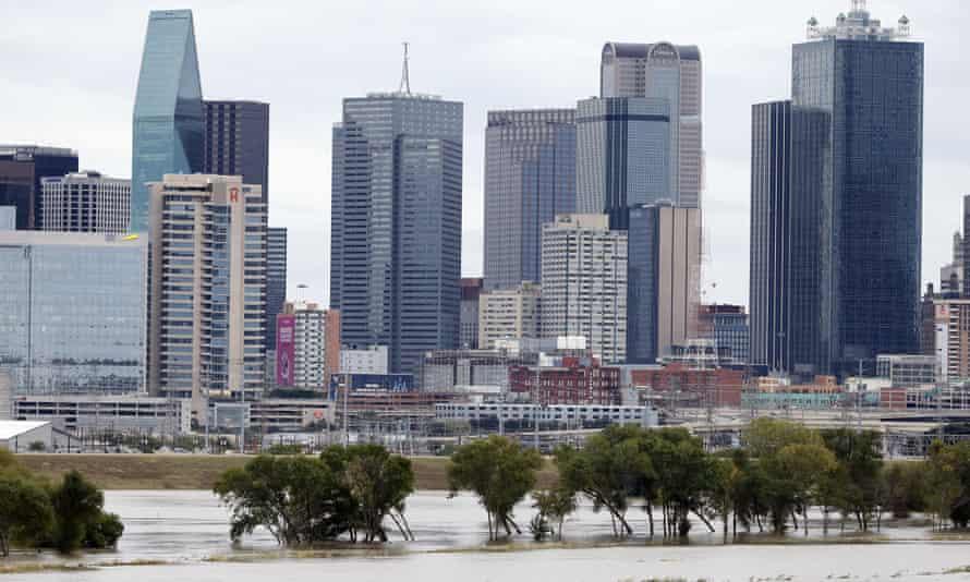 Rain-swollen Trinity river in Dallas.