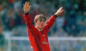 David Beckham celebrates after scoring from the halfway line against Wimbledon at Selhurst Park in 1996.