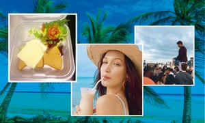 Composite photo: Food at the festival, Bella Hadid featured in the publicity for the festival; Billy stands in front of angry crowd who arrived at the unfinished Fyre festival site.