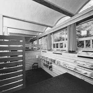 Timber window frames and book shelving