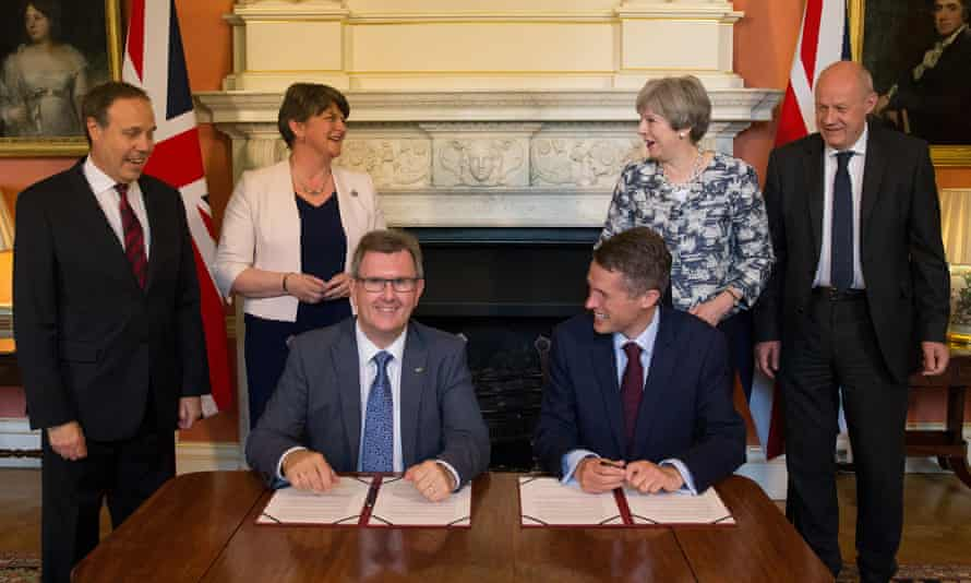 DUP leader Arlene Foster and Theresa May at the signing of the confidence-and-supply agreement