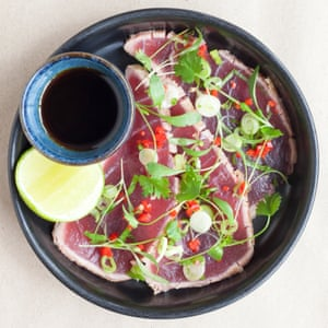 Seared tuna, spring onion, chilli, lime, coriander,  with soy and mirin.