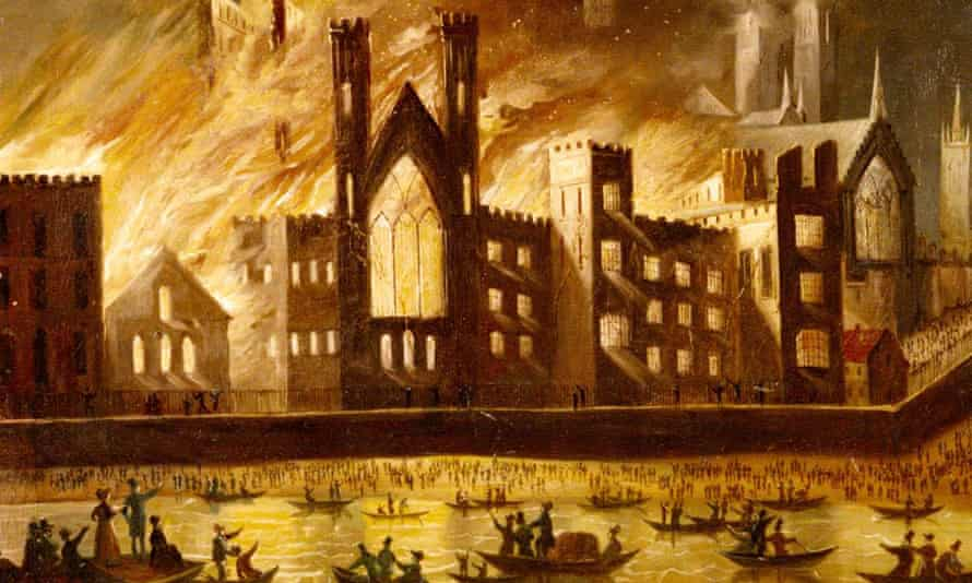 Palace of Westminster on Fire, 1834, unknown artist.