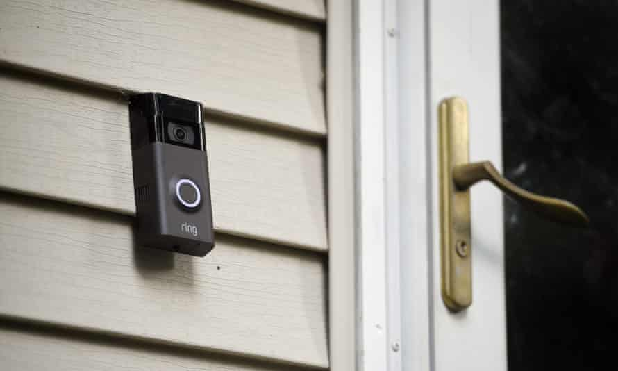 A Ring doorbell camera. A suit against the company contains examples of hackers threatening sexual assault and threatening murder.