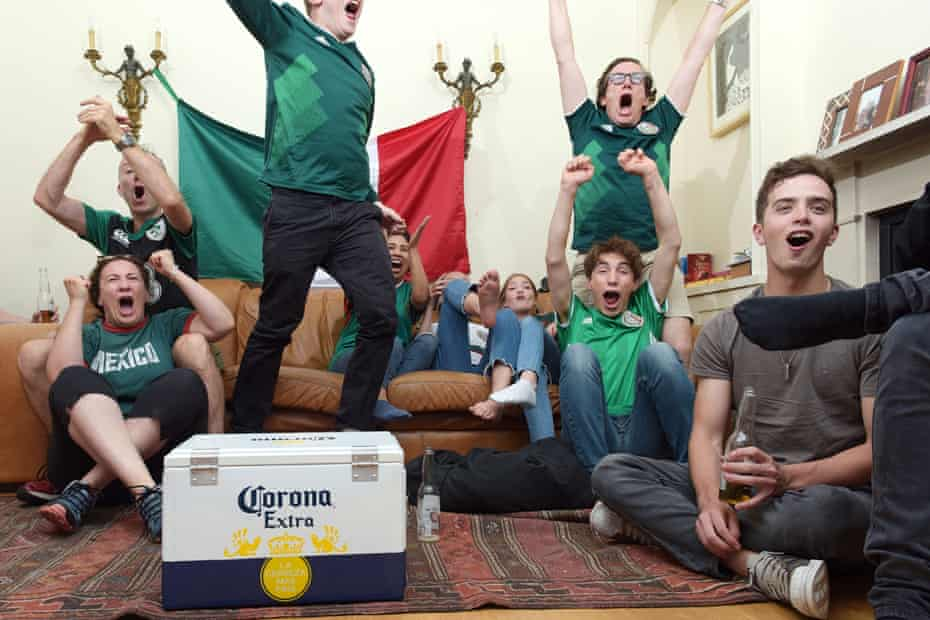Mexico football fan Yves Hayaux-du-Tilly (back right) with family in Putney, London, on 17 June 2018