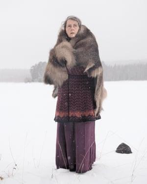 Portrait of Sissel Borg on the ice at Vermundsjøen