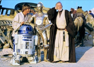 Mark Hamill, Kenny Baker, Anthony Daniels and Alec Guinness as characters Luke Skywalker, R2-D2, C-3PO and Ben Obi-Wan Kenobi