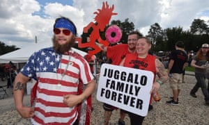 Fans of the US rap group Insane Clown Posse, known as Juggalos, gather on September 16, 2017 near the Lincoln Memorial in Washington, D.C. to protest at a 2011 FBI decision to classify their movement as a gang. / AFP PHOTO / Paul J. RichardsPAUL J. RICHARDS/AFP/Getty Images