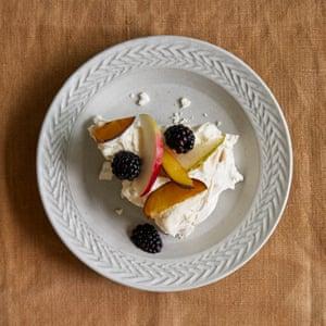 James Rich's pavlova with apple and vanilla cream.