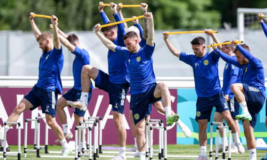 Andy Robertson (centre) trains with teammates in Darlington. 'We are so excited for this,' the Scotland captain said.