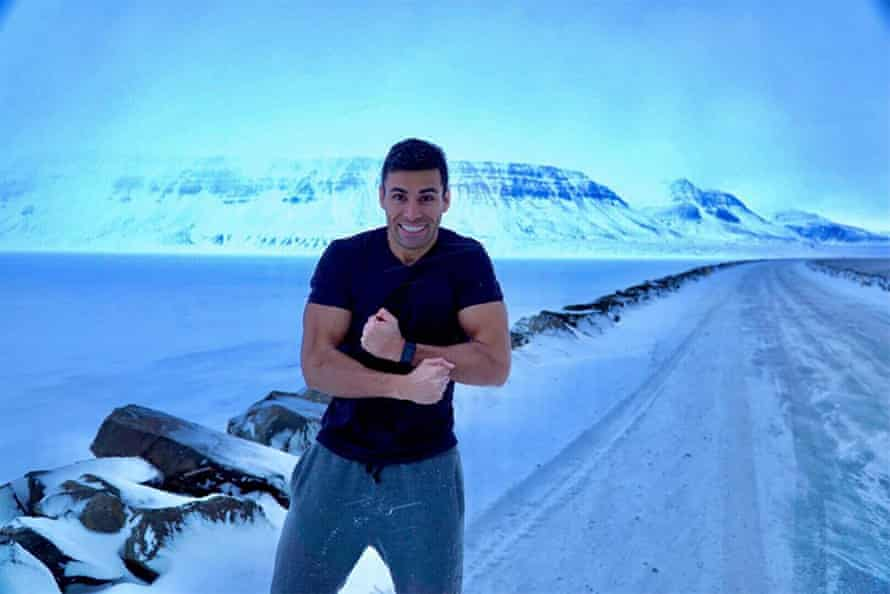 Pita Taufatofua on the way to Eskifjörður fiord