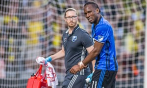 Didier Drogba, pictured here against Columbus Crew in June, took no part in Montreal's derby against Toronto on Sunday.