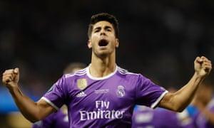 Real Madrid's Marco Asensio celebrates scoring their fourth goal.