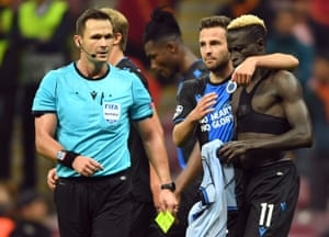 Krépin Diatta (right) sees his second yellow card after removing his shirt while celebrating scoring Club Brugge's equalising goal at Galatasaray.