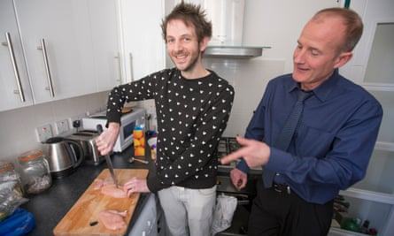 Alexi Duggins, Rod Blessitt of Southwark council, and some chicken breasts.