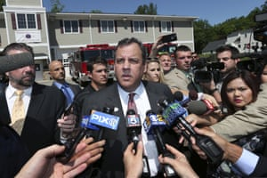 Chris Christie answers questions after voting at Brookside Engine Company 1 firehouse in Mendham Township, New Jersey.