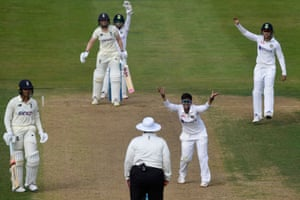 India's Deepti Sharma appeals successfully for the wicket of England's Heather Knight.