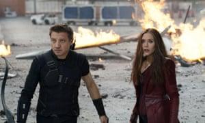 Jeremy Renner Clint Barton/Hawkeye and Elizabeth Olsen as Wanda Maximoff/ Scarlet Witch in Captain America: Civil War.