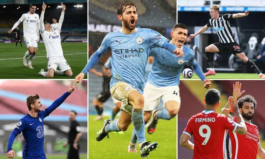 Clockwise from top left; Diego Llorente scores for Leeds, Bernardo Silva and Phil Foden of Manchester City, Sean Longstaff of Newcastle United, Mohamed Salah of Liverpool and Chelsea's Timo Werner.