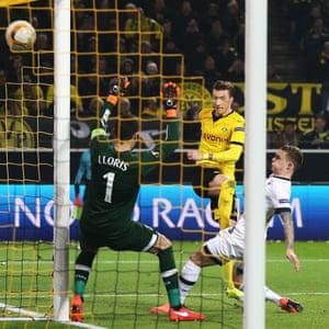 Marco Reus makes it two goals for Borussia Dortmund.