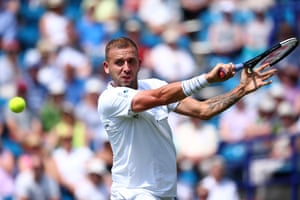 Dan Evans on his way to a 7-6, 6-2 victory over Radu Albot at Eastbourne.