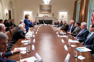 Speaker of the House Nancy Pelosi speaks to Trump during a meeting on Syria this week.