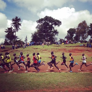 Heat one of the 5,000m at the Iten town championships